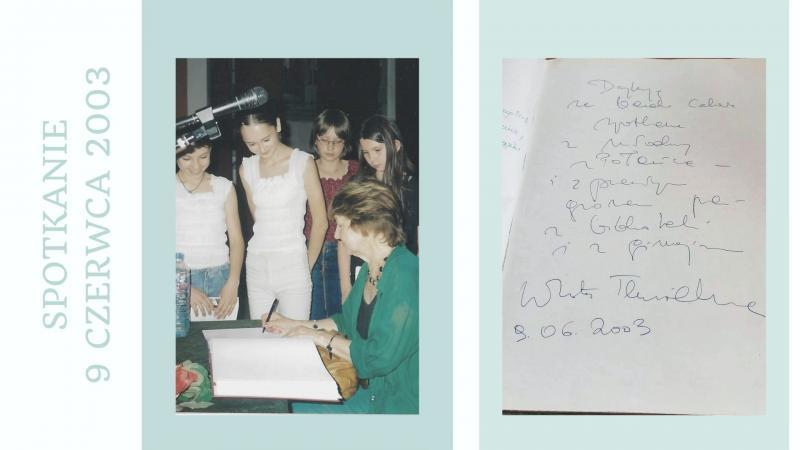 Zdjęcie kolorowe, fragment prezentacji Dorota Terakowska w Bibliotece w Połańcu