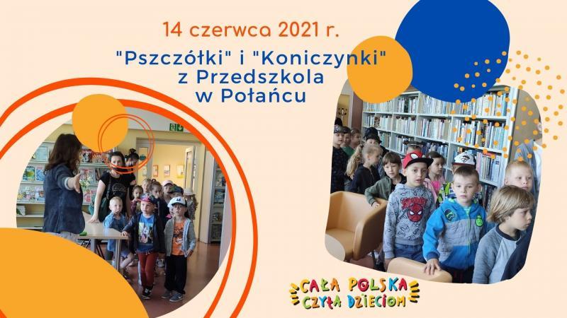 Zdjęcie kolorowe, kadr z prezentacji z głośnego czytania przedszkolakom w bibliotece