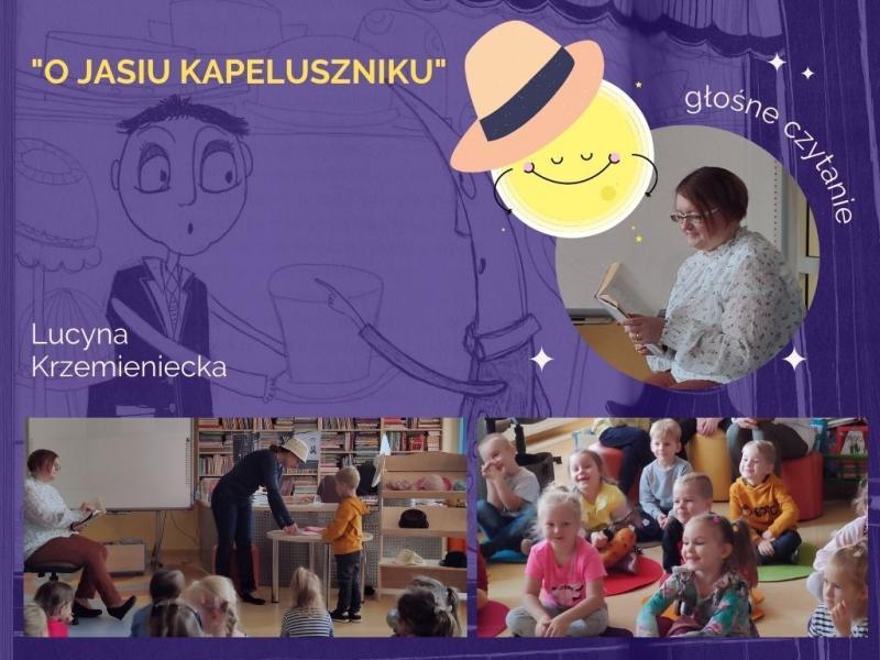 Zdjęcie kolorowe, strona prezentacji, przedszkolaki w bibliotece w Połańcu