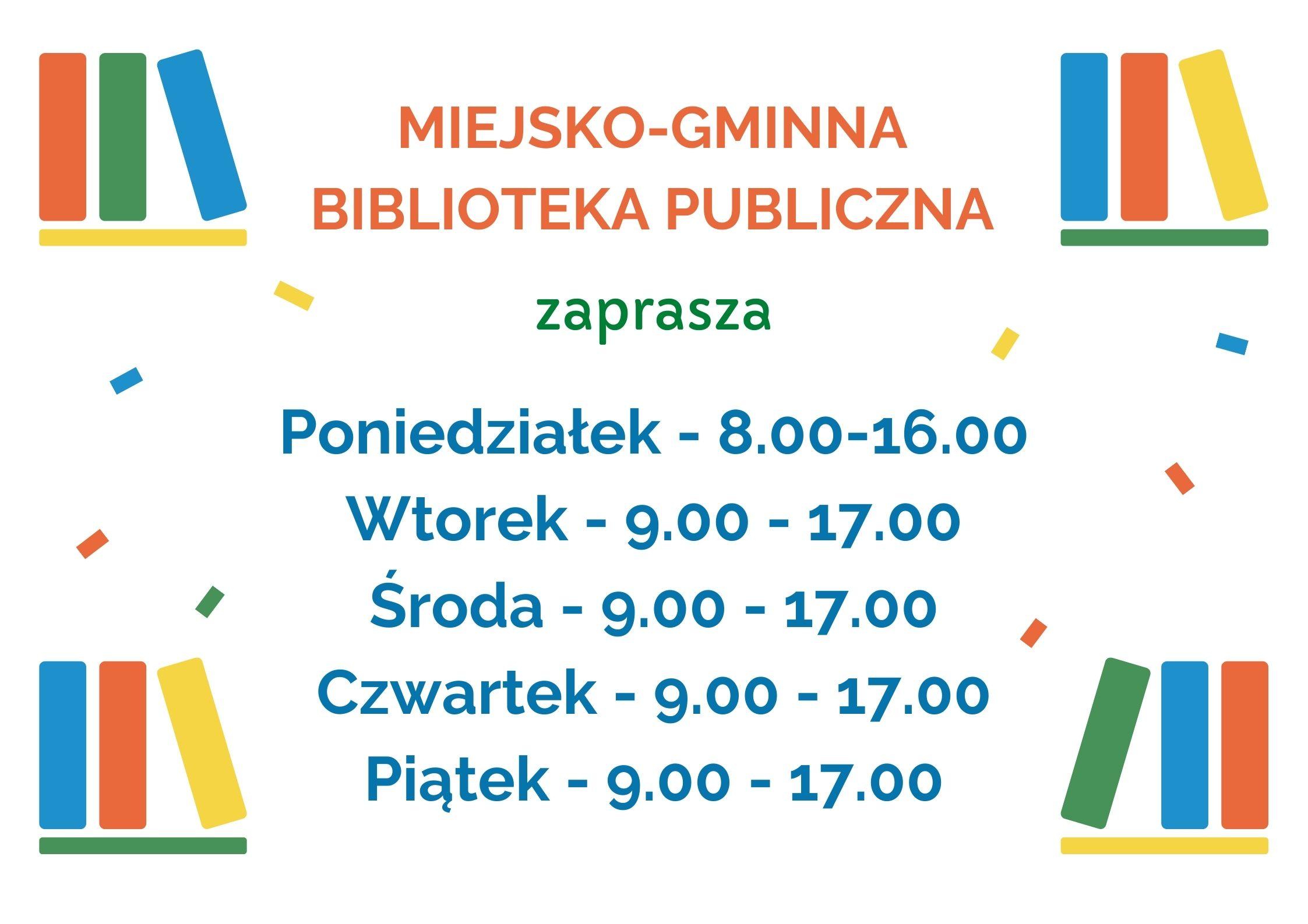 Plakat informujący ozmianach godzin pracy Biblioteki wPołańcu